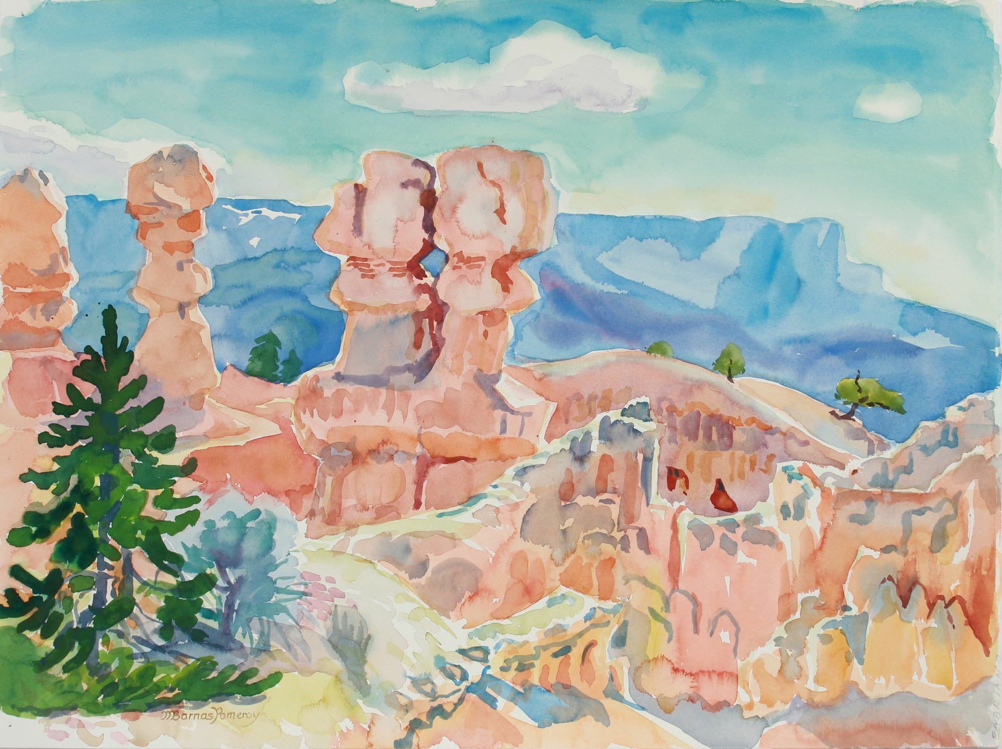 <i>Morning on the Rim of Bryce Canyon</i> <br> May 1983 Watercolor <br><br>A9964