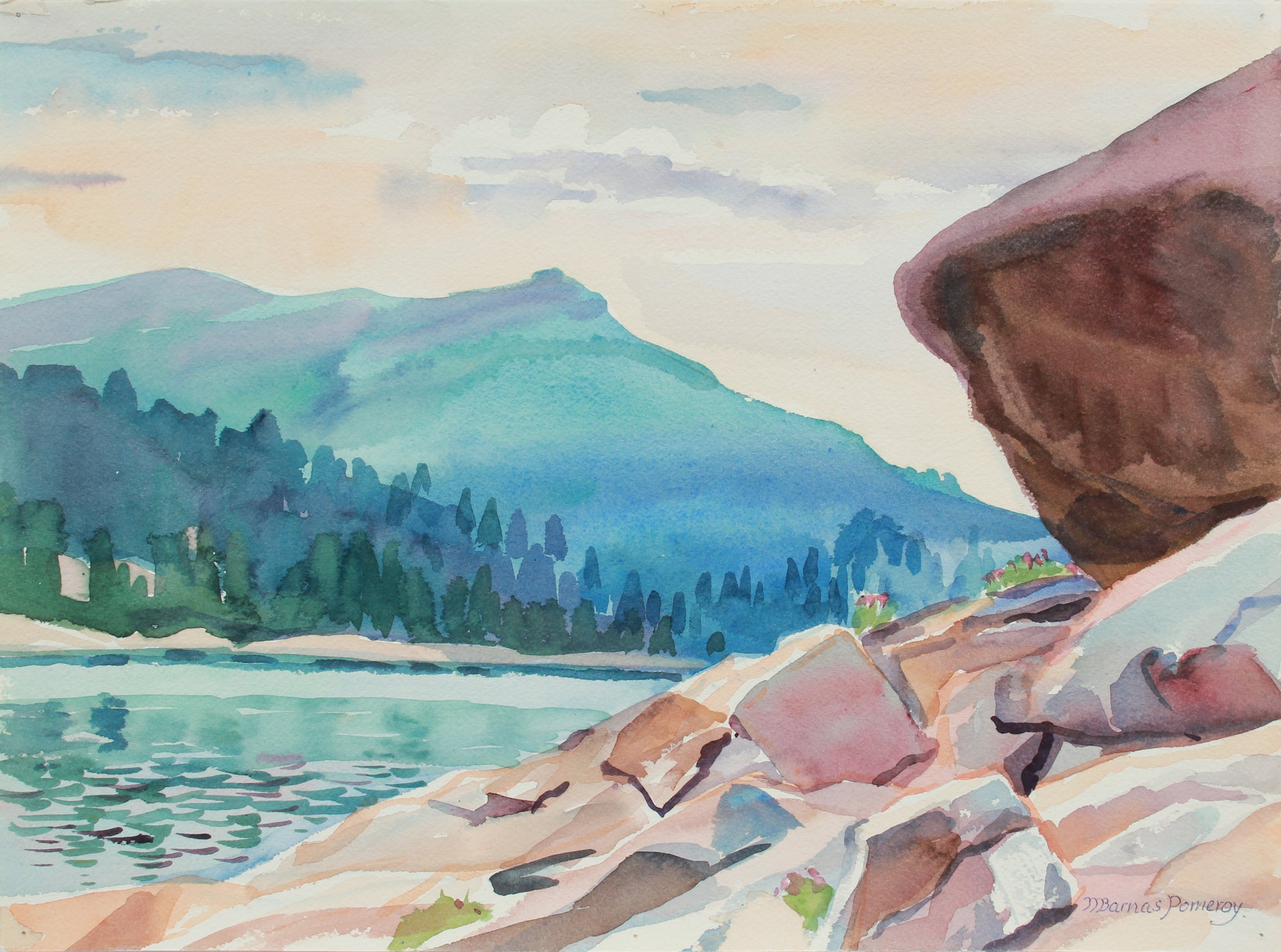 <i>Lake Alpine from West Shore, Sierra Nevada CA</i> <br> July 1984 Watercolor <br><br>A9967