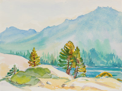 <i>August Mist - Silver Lake</i> <br>August 2002 Watercolor <br><br>#A9968