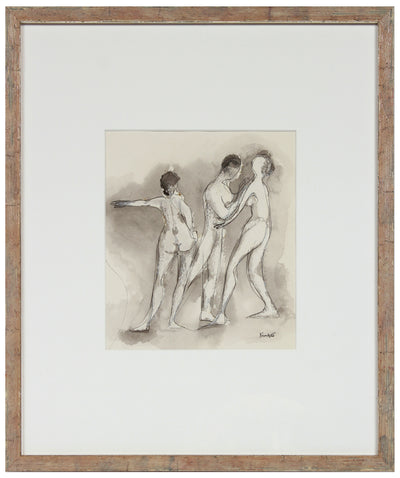 Modernist Nude Trio <br>1970s Ink <br><br>#A9976