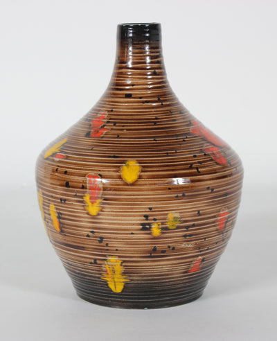 Mid Century Ceramic Gourd Vase with Striped Pattern & Red Accents <br><br>#47968