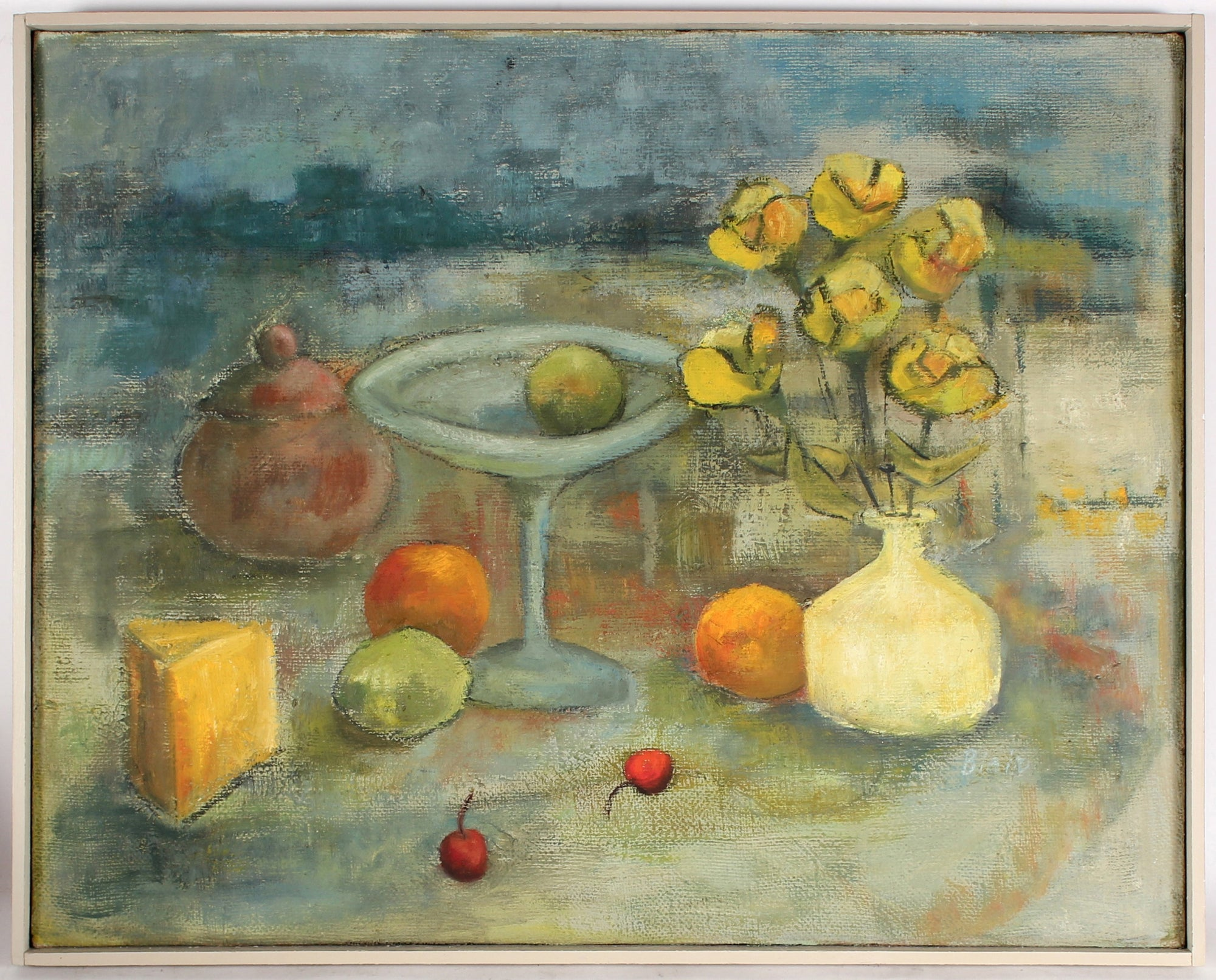 Still Life with Flowers, Cheese, And Fruit<br>Mid Century Oil<br><br>#81092