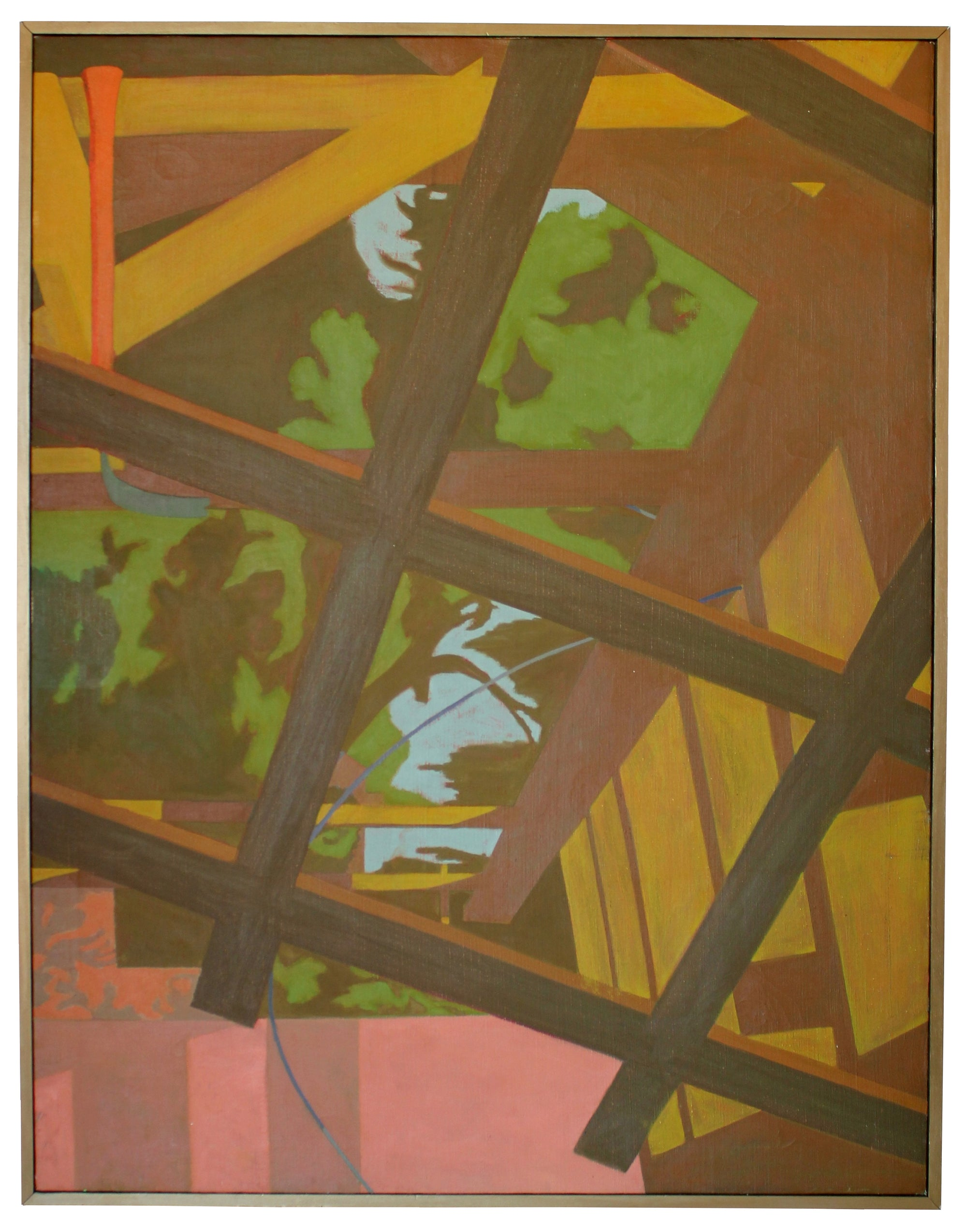 Latticework with Foliage Arbor Abstract <br>20th Century Oil <br><br>#18306