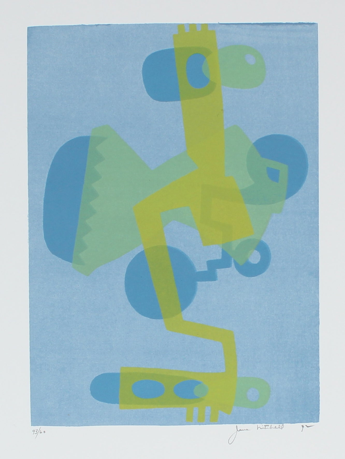 Cool Toned Deconstructed Forms <br> 1972 Serigraph <br><br>#86376