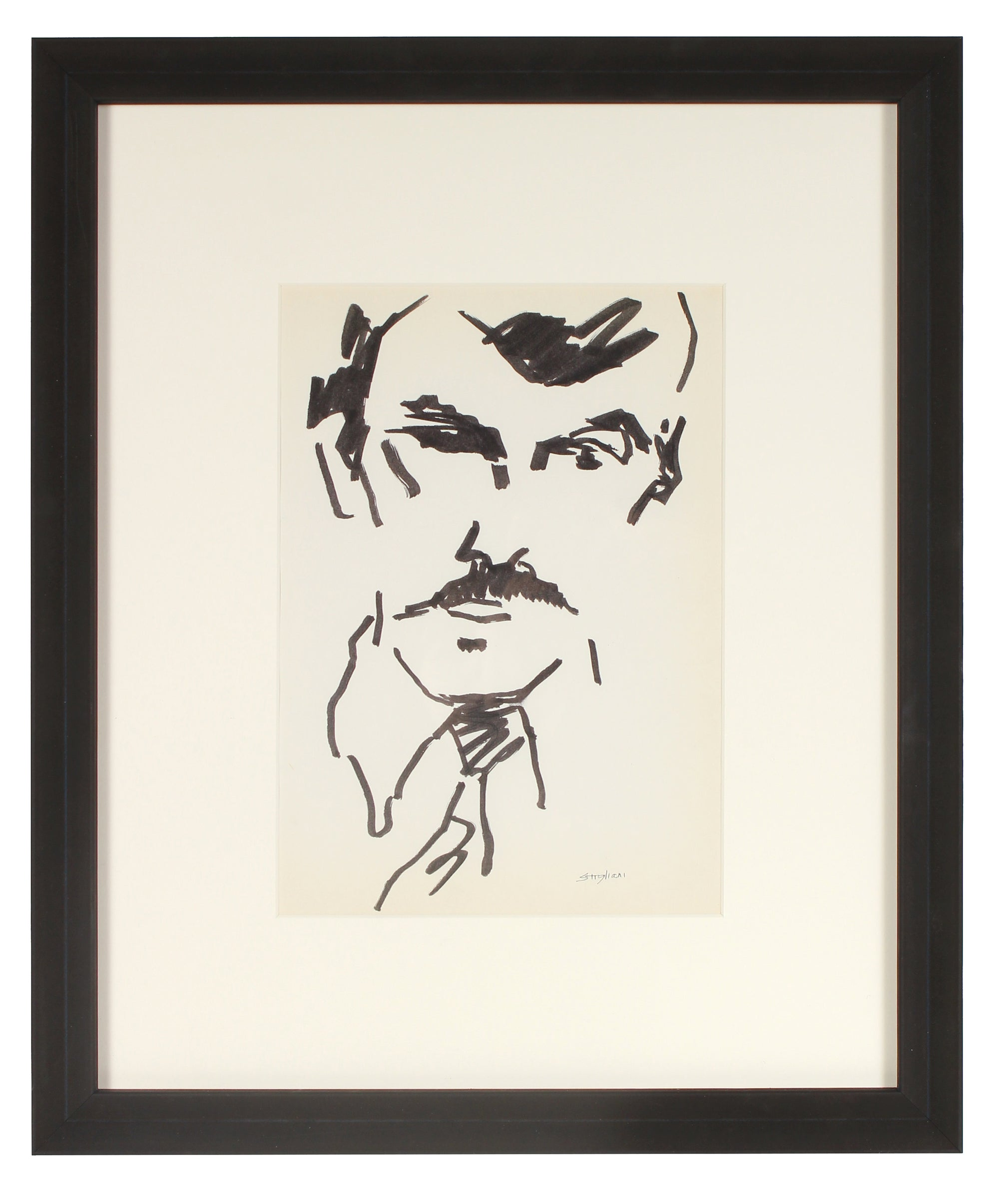 Man with Mustache Drawing <br> Mid 20th Century Ink<br><br>#71992