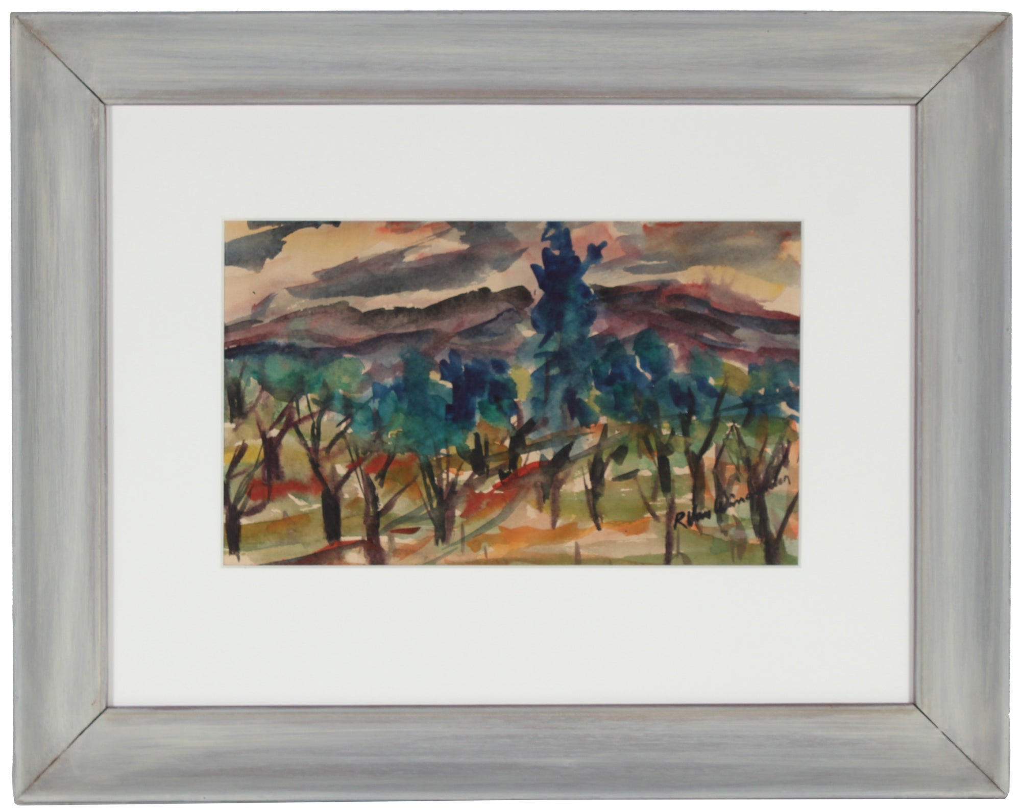 Mid Century Abstracted California Landscape<br>Watercolor on Paper<br><br>#5053