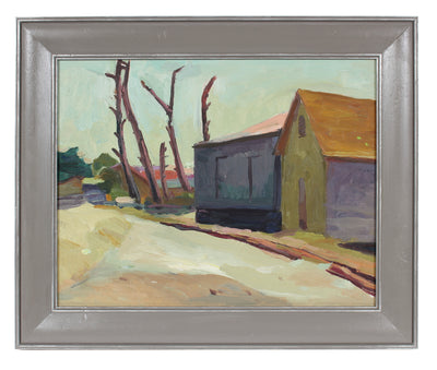 House & Trees, Modernist Landscape<br>Mid Century Oil<br><br>#92147