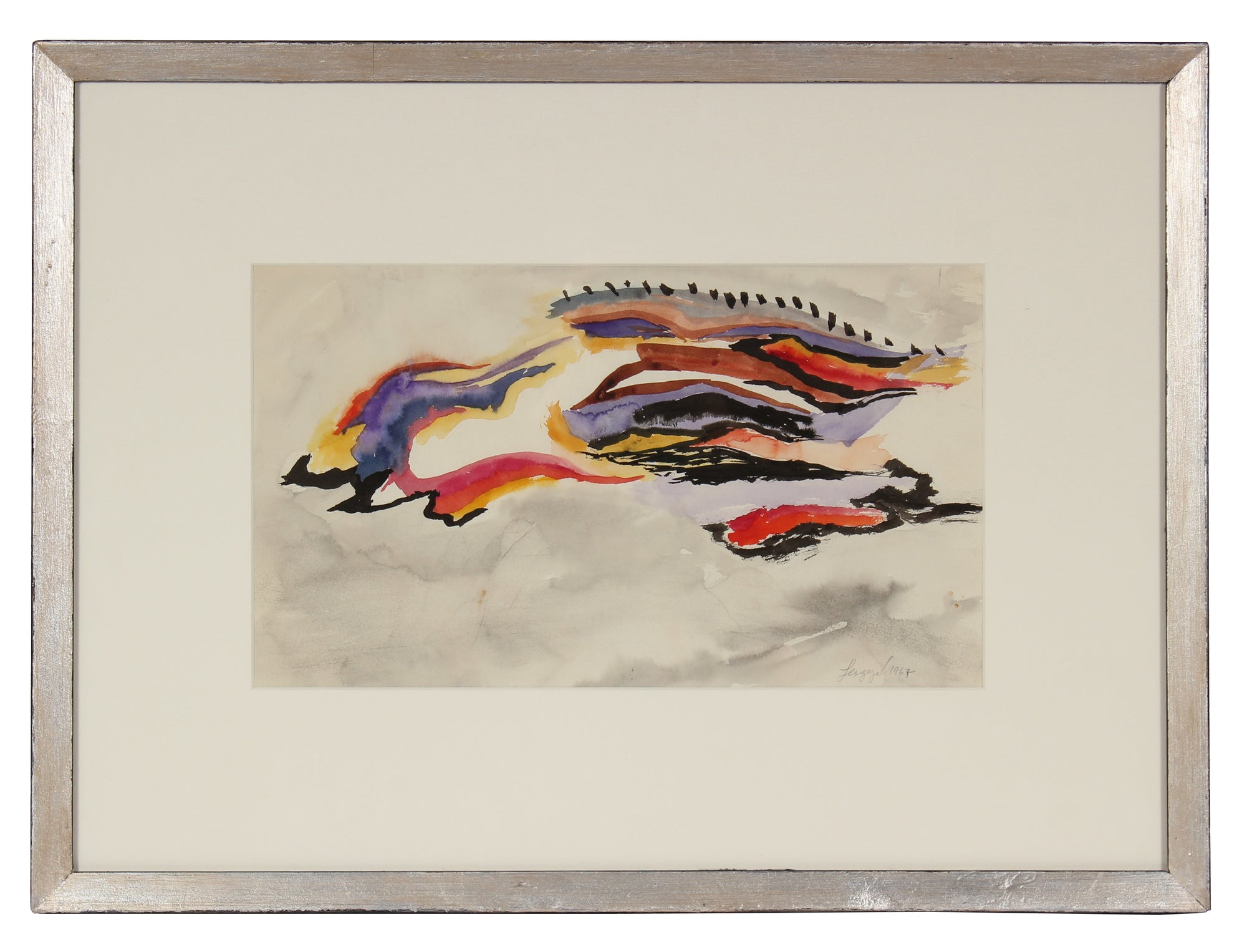 1967 Gouache Abstracted Modernist Landscape<br><br>#58366