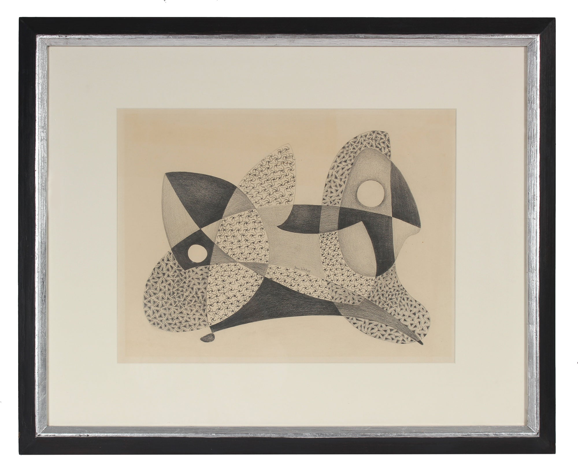 Monochrome Geometric Abstract<br>1970s Graphite<br><br>#80864