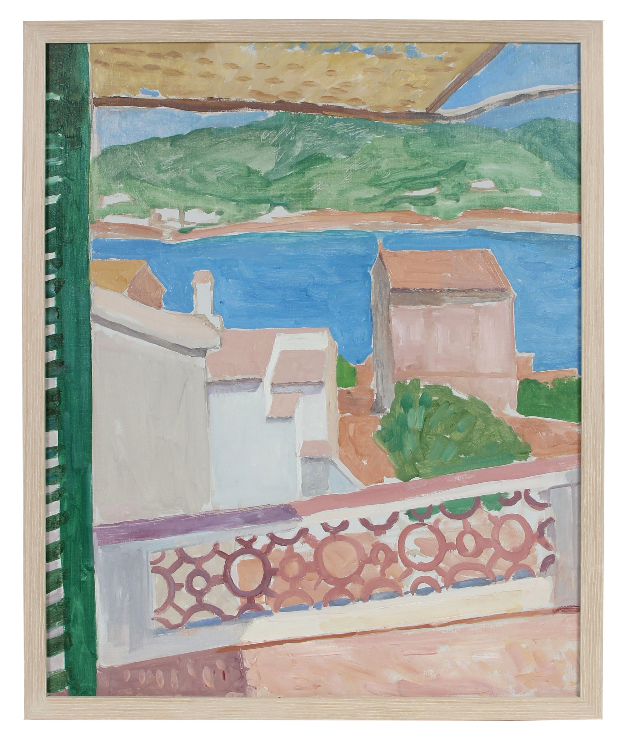 Houses by the Coast <br>Late 20th Century Oil <br><br>#92484