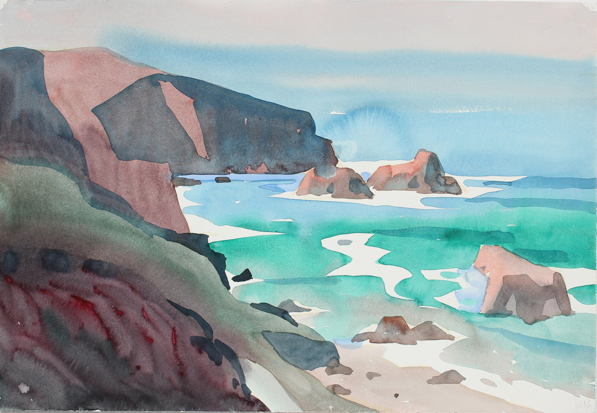 Dreamy Coastal Scene <br>20th Century Watercolor <br><br>#A3657