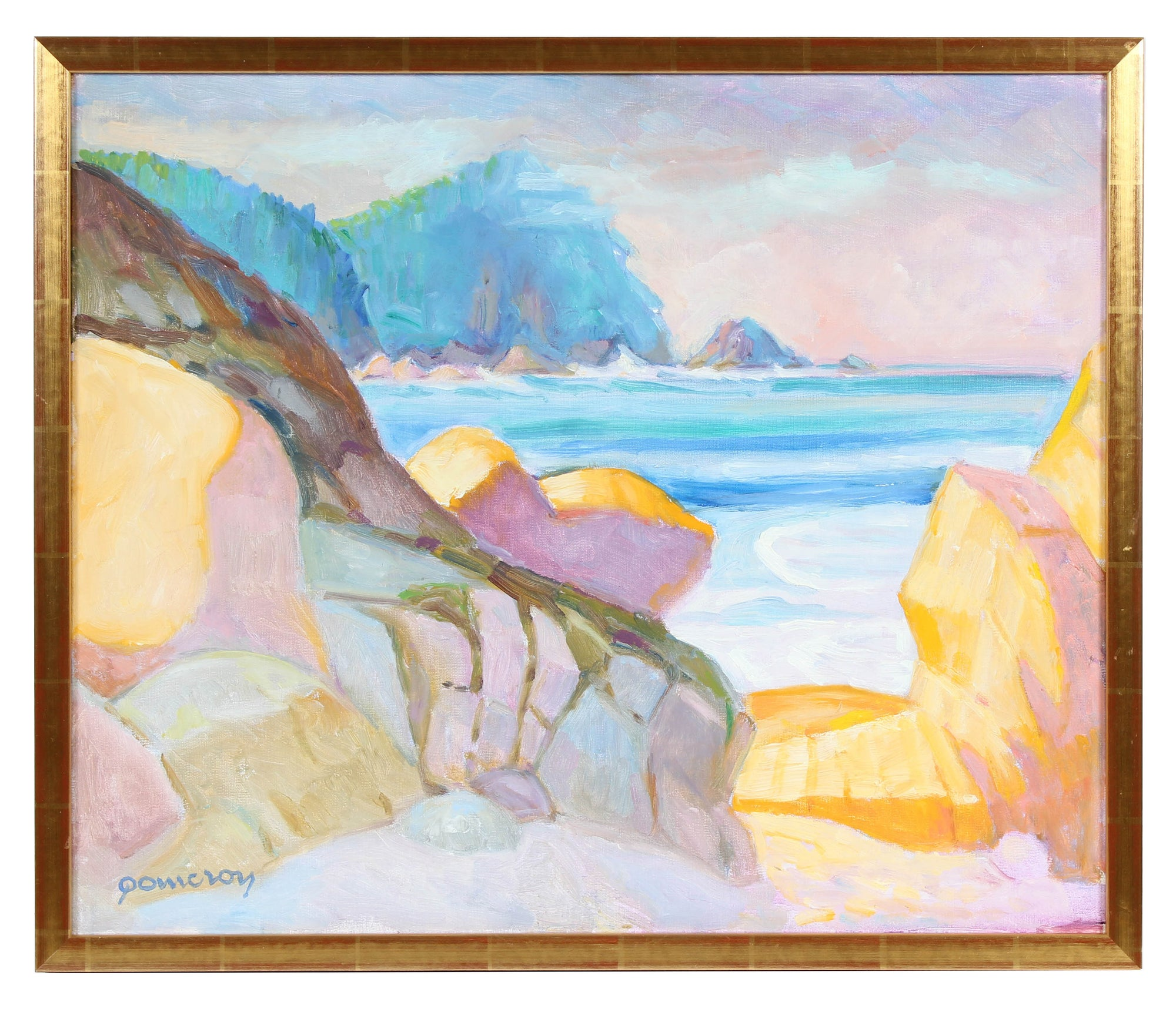 Rocky Coastal Seascape <br>Mid-Late 20th Century Oil <br><br>#94103
