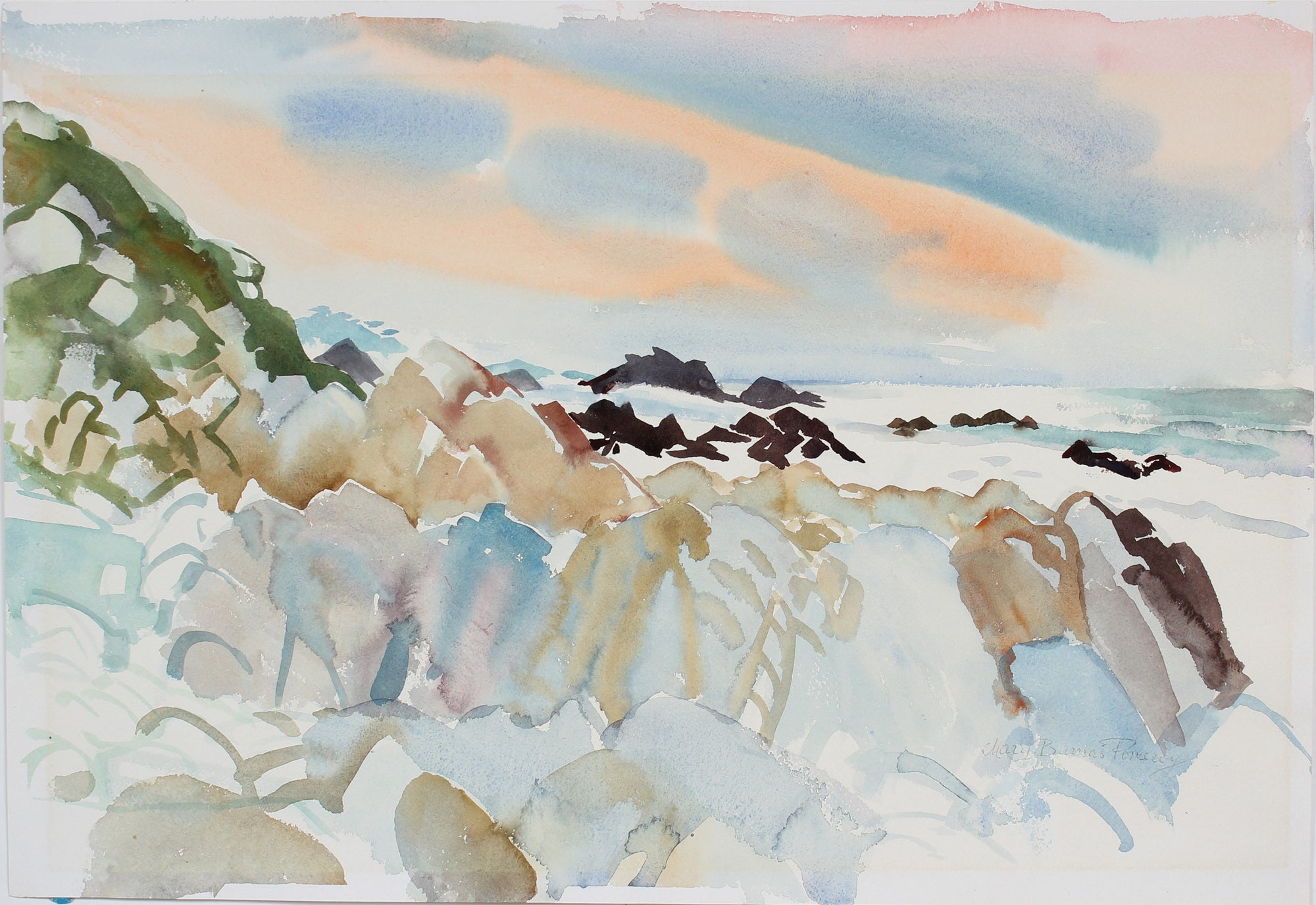 <i>Silver Surf</i> <br>20th Century Watercolor <br><br>#A3667