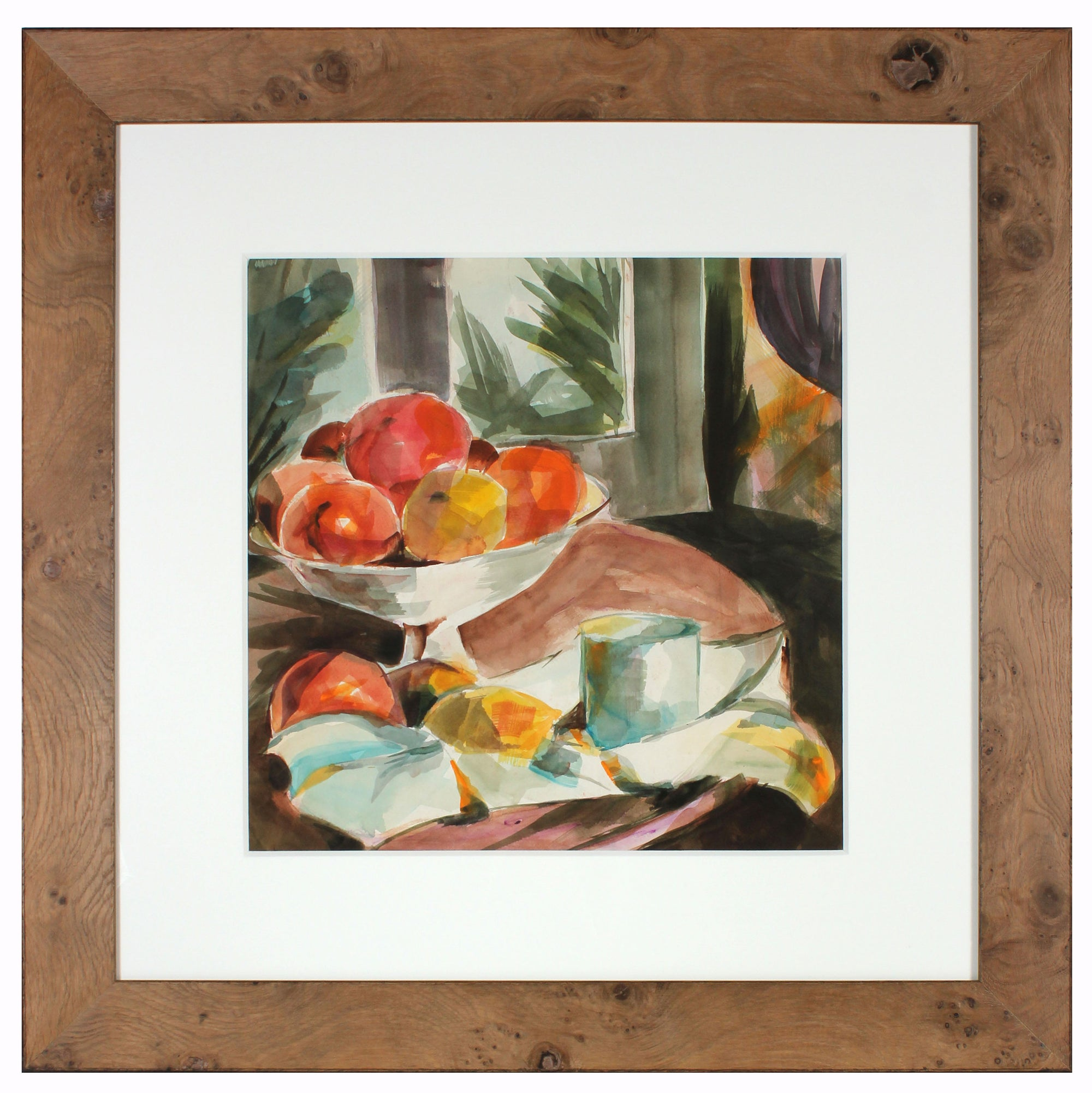 Colorful Still Life with Fruit<br>Mid Century Watercolor<br><br>#A3857