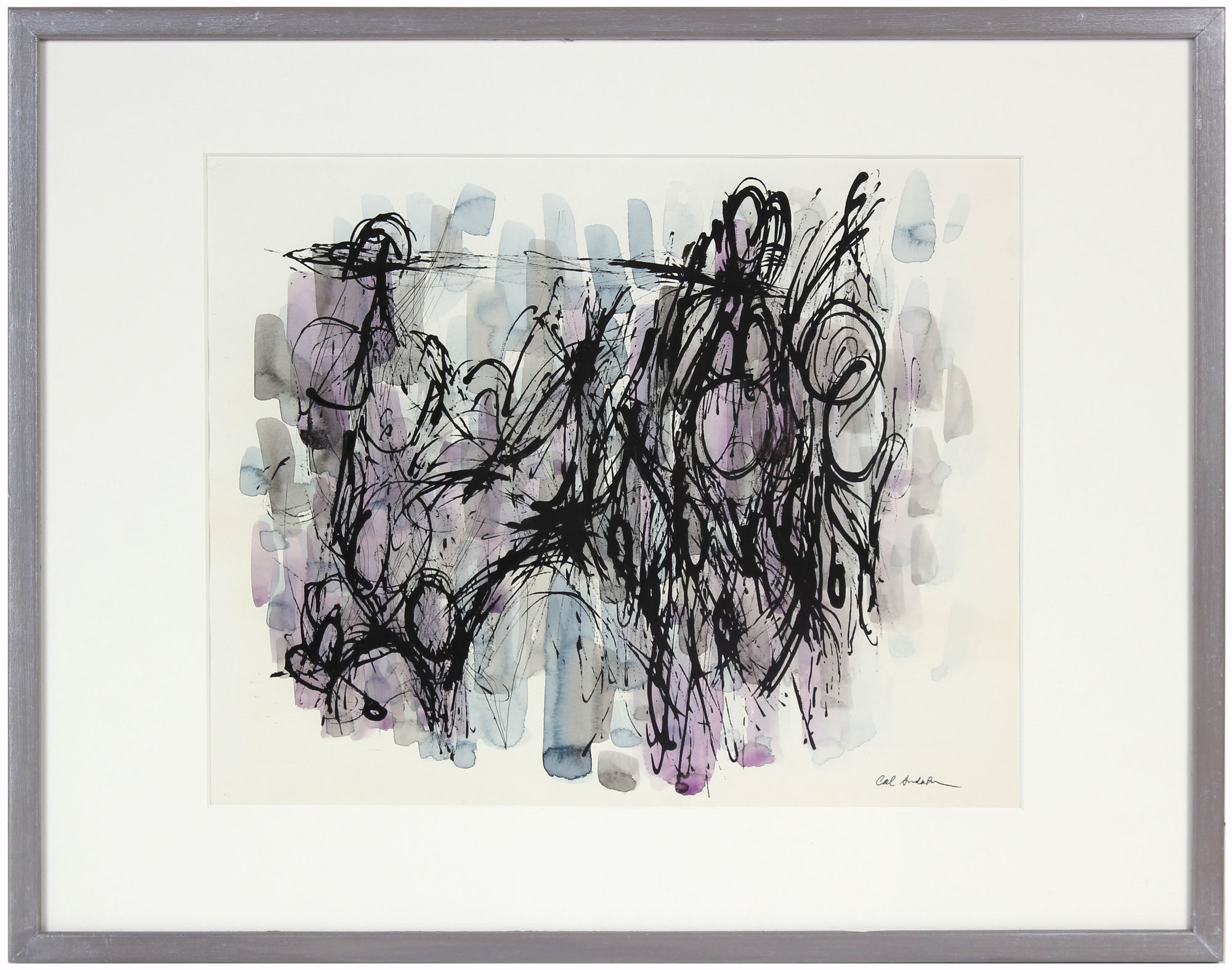 Dynamic Purple and Blue Abstract <br>Mid-Late Century Ink and Watercolor <br><br>#97528