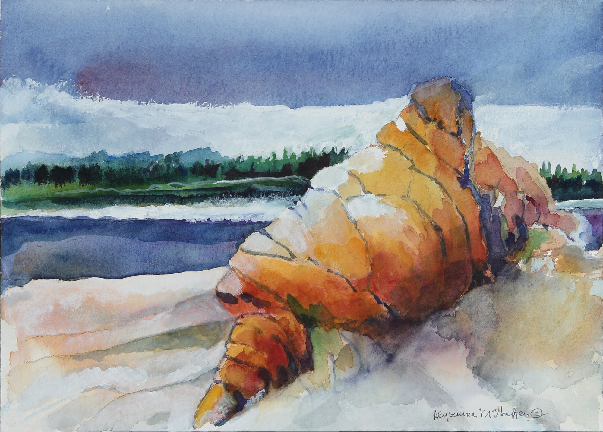 Coastal California Rock Formation <br>Late 20th Century Watercolor <br><br>#22498