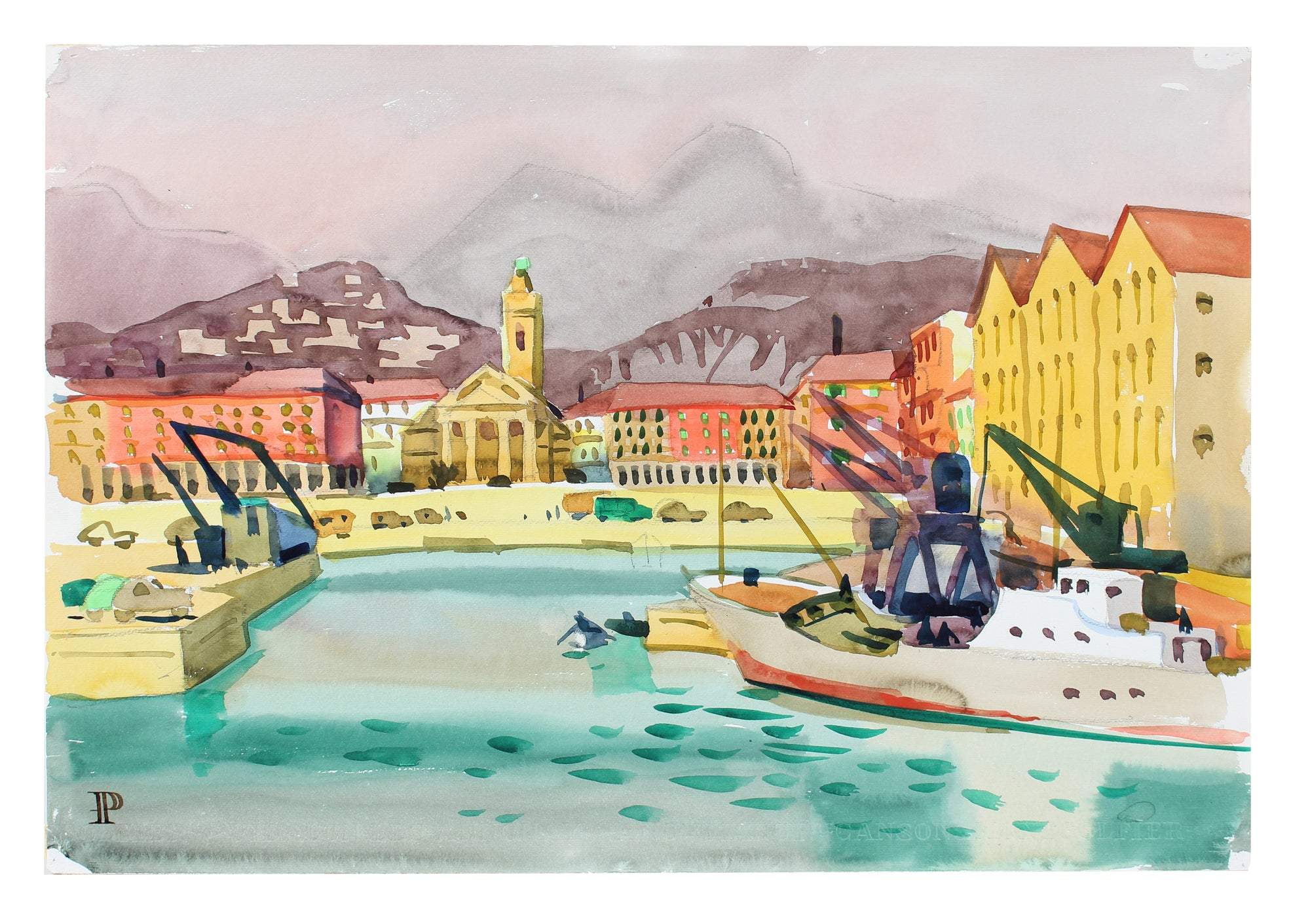 <i>The Port</i> <br>1965 Watercolor <br><br>#A3552