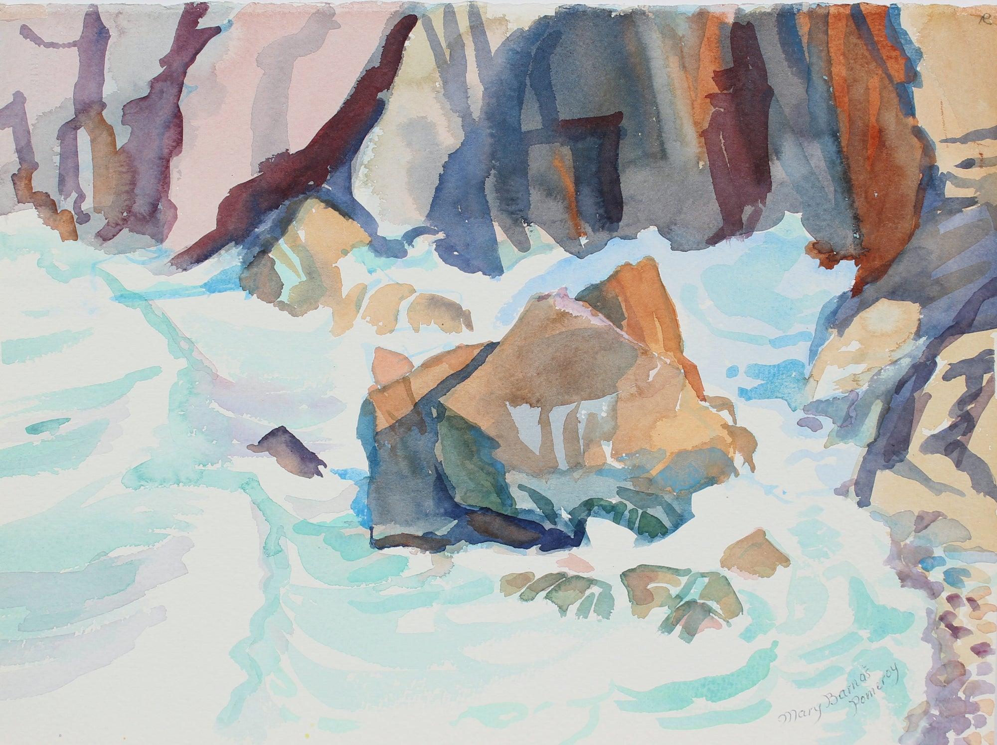 <i>Base of Sea Cliff</i> <br> January 1988 Watercolor <br><br>A3648