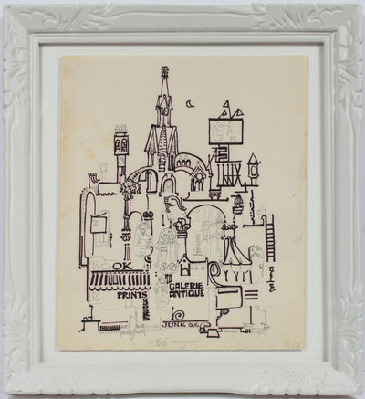Surreal Fantasy Architecture <br>1960s Ink <br><br>#B0022
