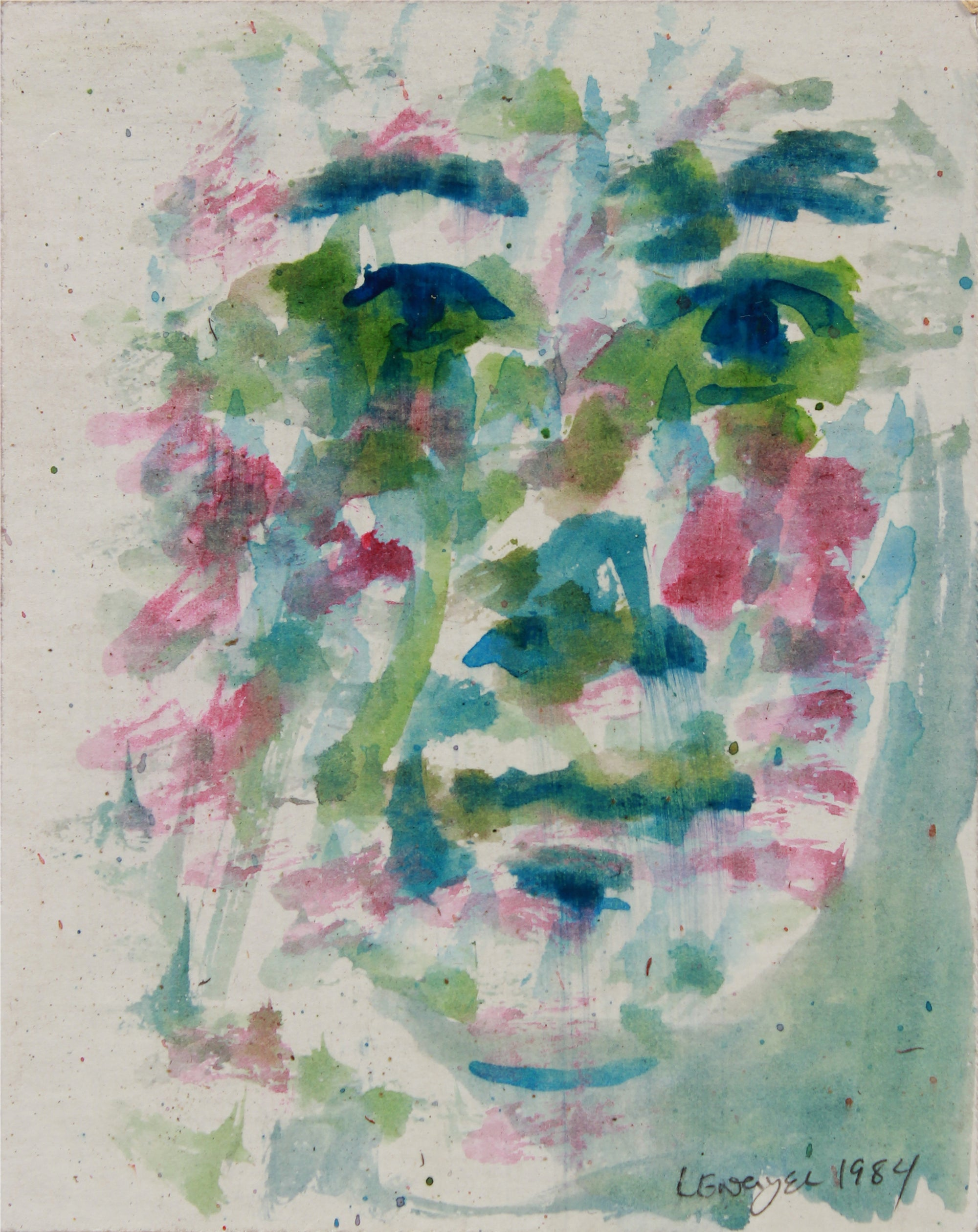 Pink & Green Abstracted Dappled Face <br>1984 Watercolor <br><br>#B0061