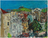 Expressionist San Francisco Victorian Houses <br>1992 Oil <br><br>#B0084