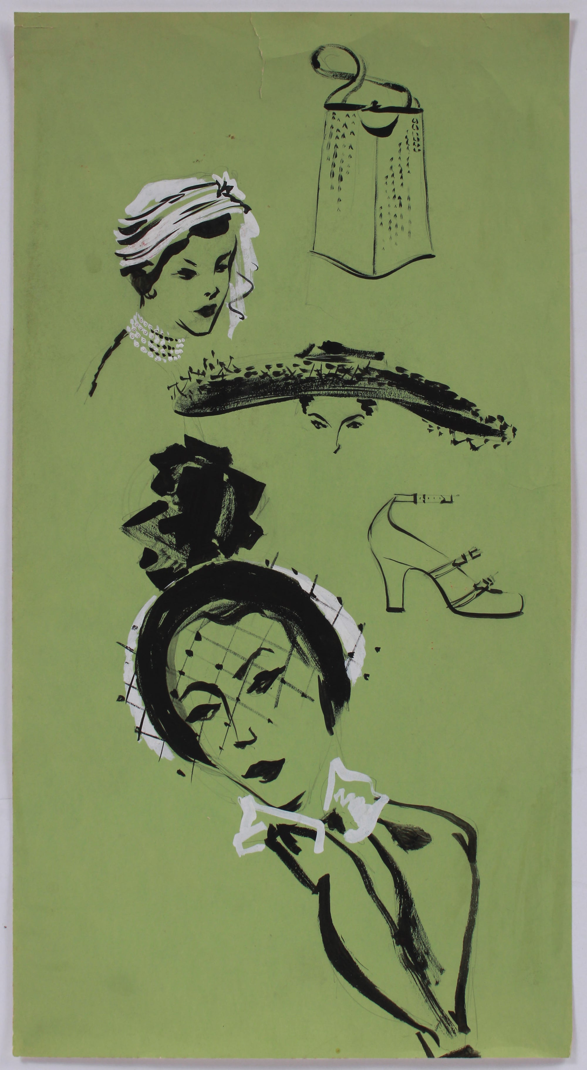 Fashion Drawing with Green<br>1945 Gouache & Graphite <br><br>#B0112