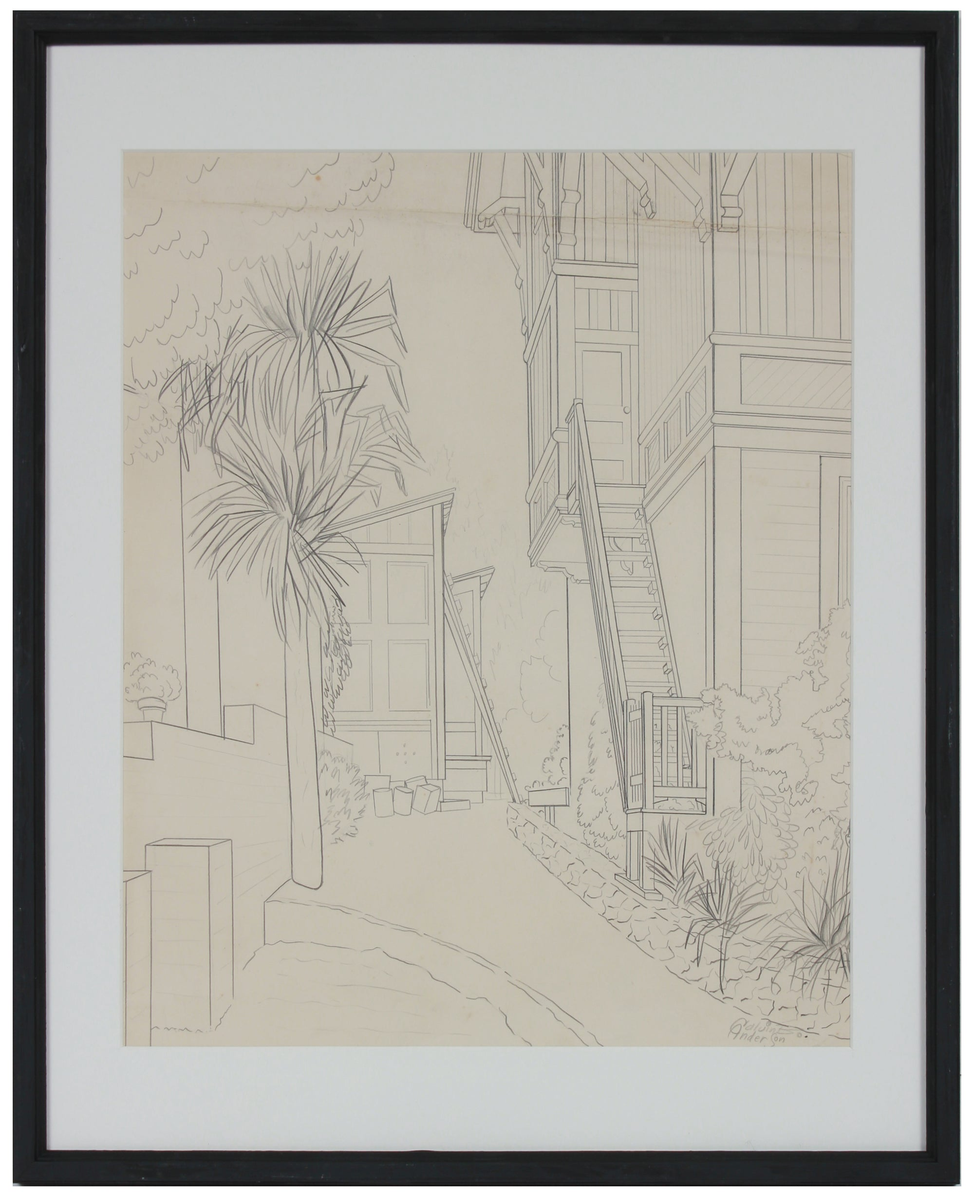 Architectural Apartment Sketch <br>Mid Century Graphite <br><br>#B0148