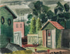 Quiet Backyard City Scenen <br>1943 Gouache <br><br>#B0150