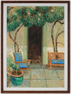 Patio Scene with Blue Benches <br>Mid-Late 20th Century Oil <br><br>#B0694