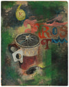 Abstracted Still Life with Text & Coffee Cup <br>20th Century Oil <br><br>#B0714