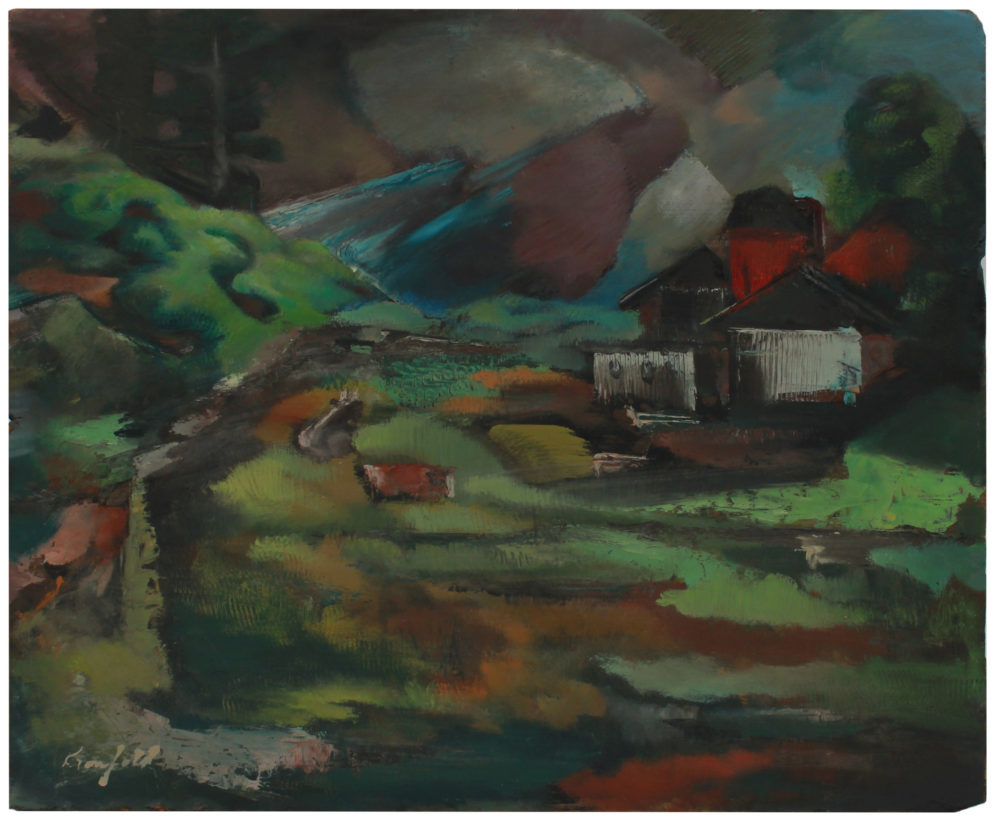 Ominous Landscape <br>Mid 20th Century Oil <br><br>#B0720