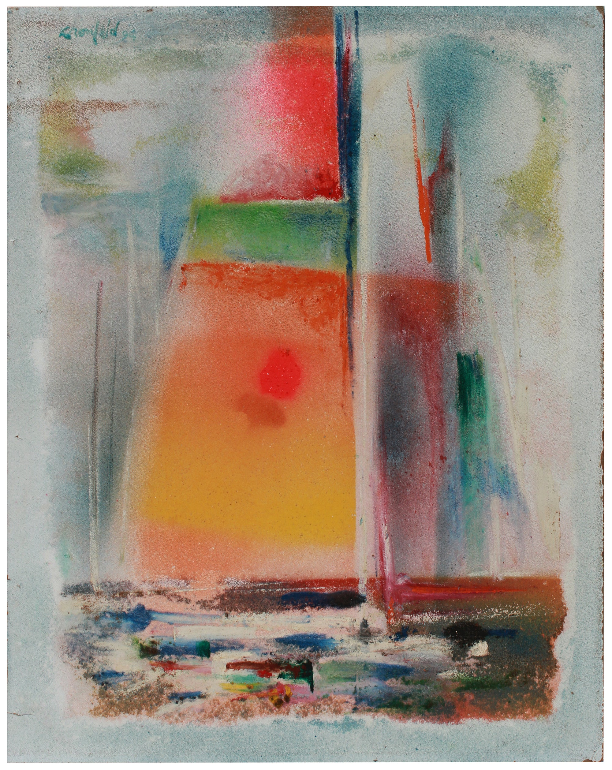 Abstracted Sailboat <br>1994 Mixed Media & Sand <br><br>#B0721