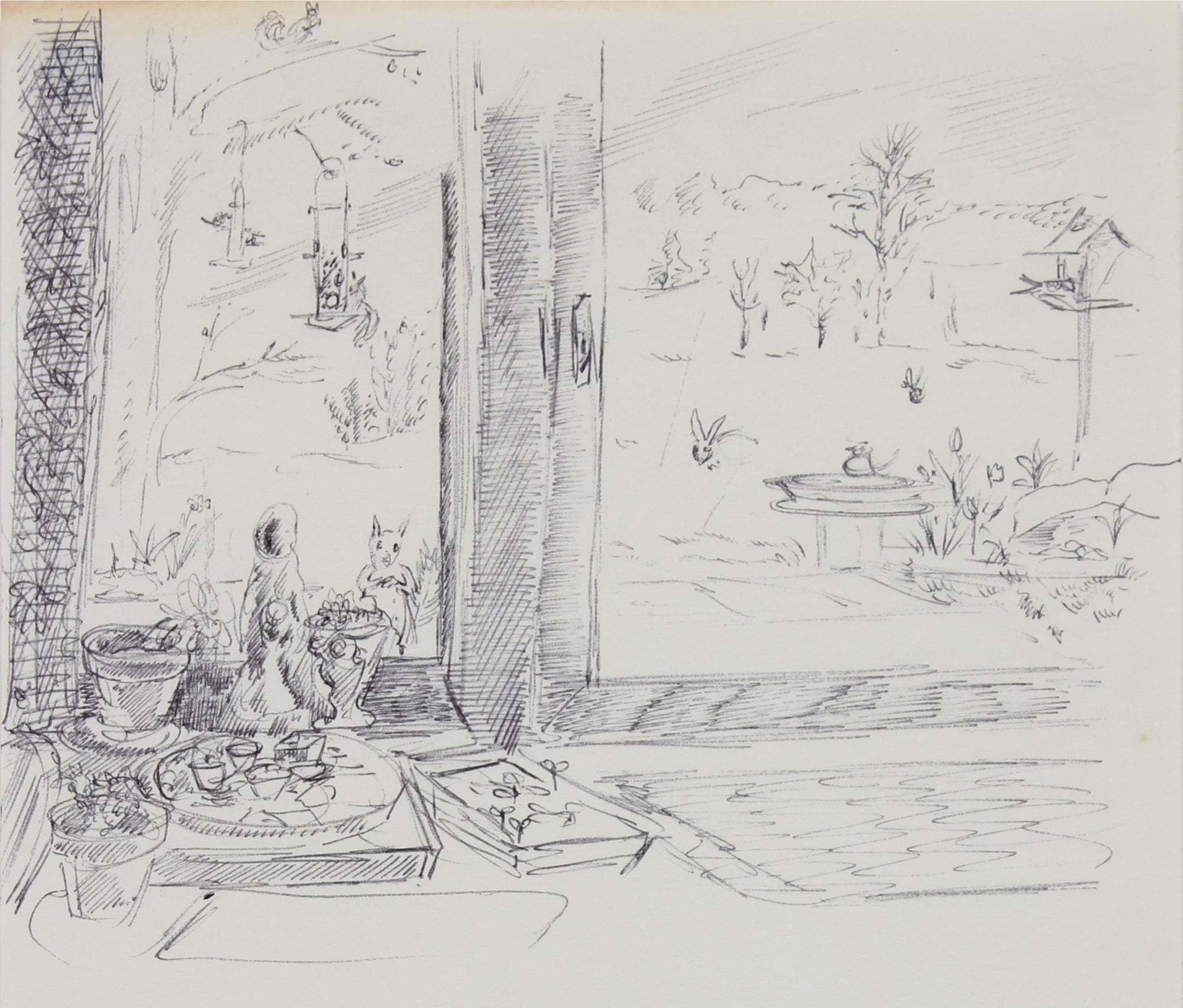 Backyard Windowsill Still Life <br>1940-60s Ink <br><br>#B0750