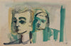 Abstracted Man & Child <br>1940-60s Gouache & Ink <br><br>#B0762
