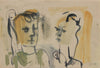 Abstracted Portrait Pair <br>1940-60s Gouache & Ink <br><br>#B0768