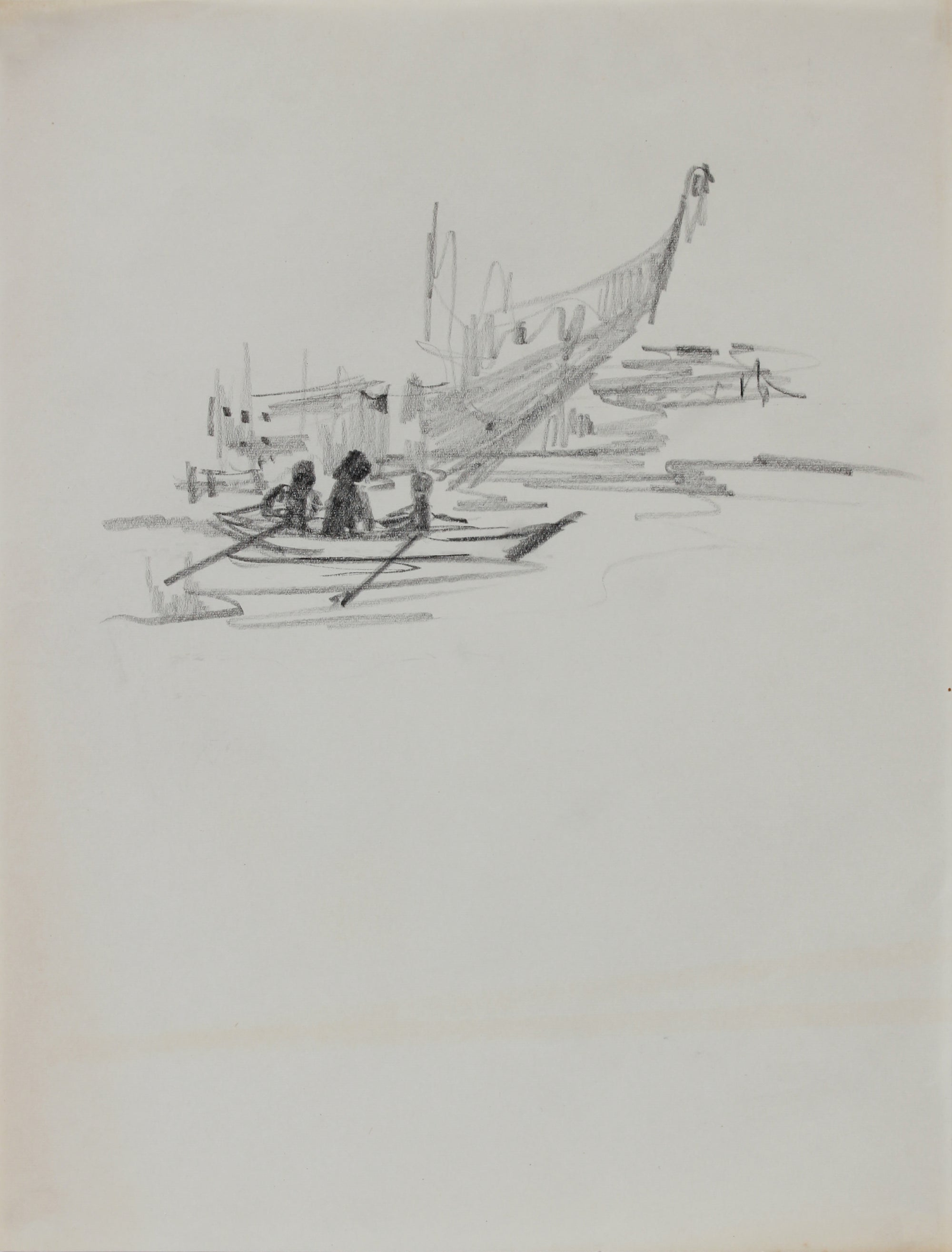 Rowboat in the Bay <br>1940-60s Graphite <br><br>#B0776
