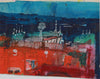 Vivid Landscape in Red & Blue <br>940-60s Mixed Media <br><br>#B0777