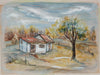 Landscape with House & Tree <br>1940-50s Ink, Watercolor & Acrylic <br><br>#B0785