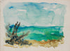 Serene Abstracted Beach Scene <br>1940-50s Watercolor <br><br>#B0786