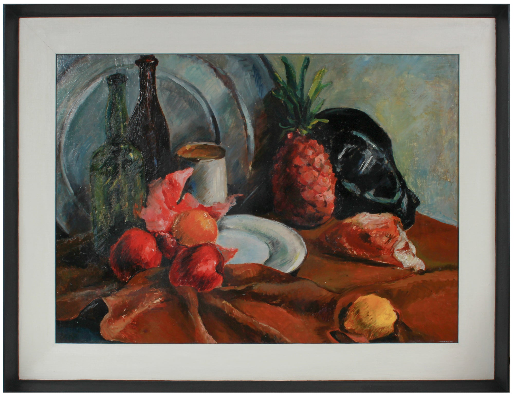 Modernist Fruit Still Life <br>1943-46 Oil <br><br>#B0837