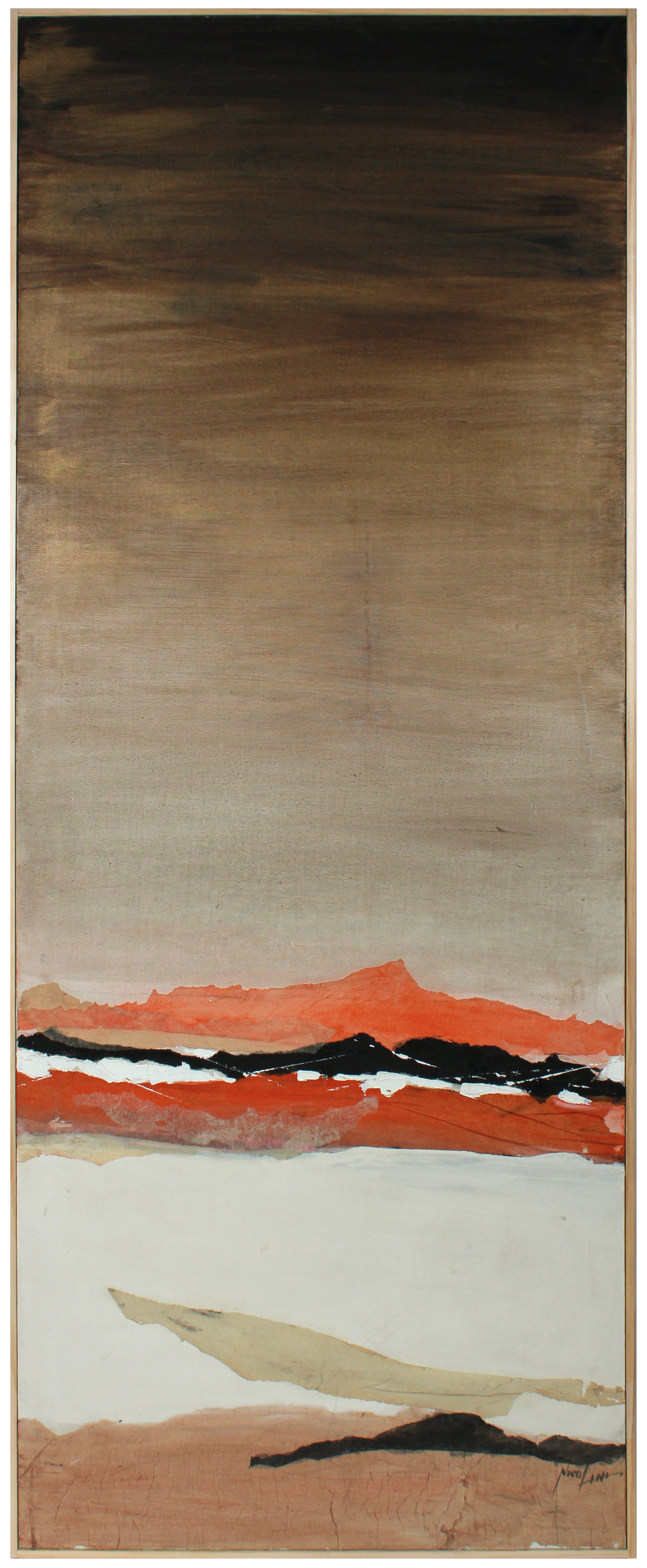 Tall Abstracted Landscape <br>20th Century Oil <br><br>#B0862