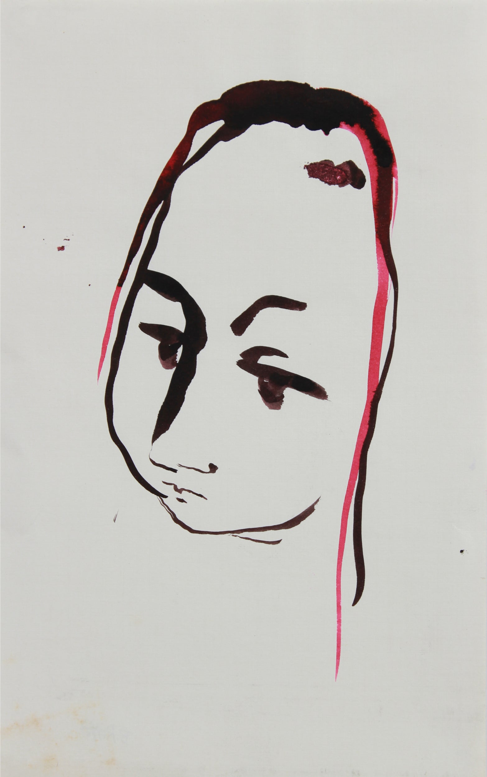 Black & Red Portrait Abstraction <br>1940-60s Gouache <br><br>#B0907