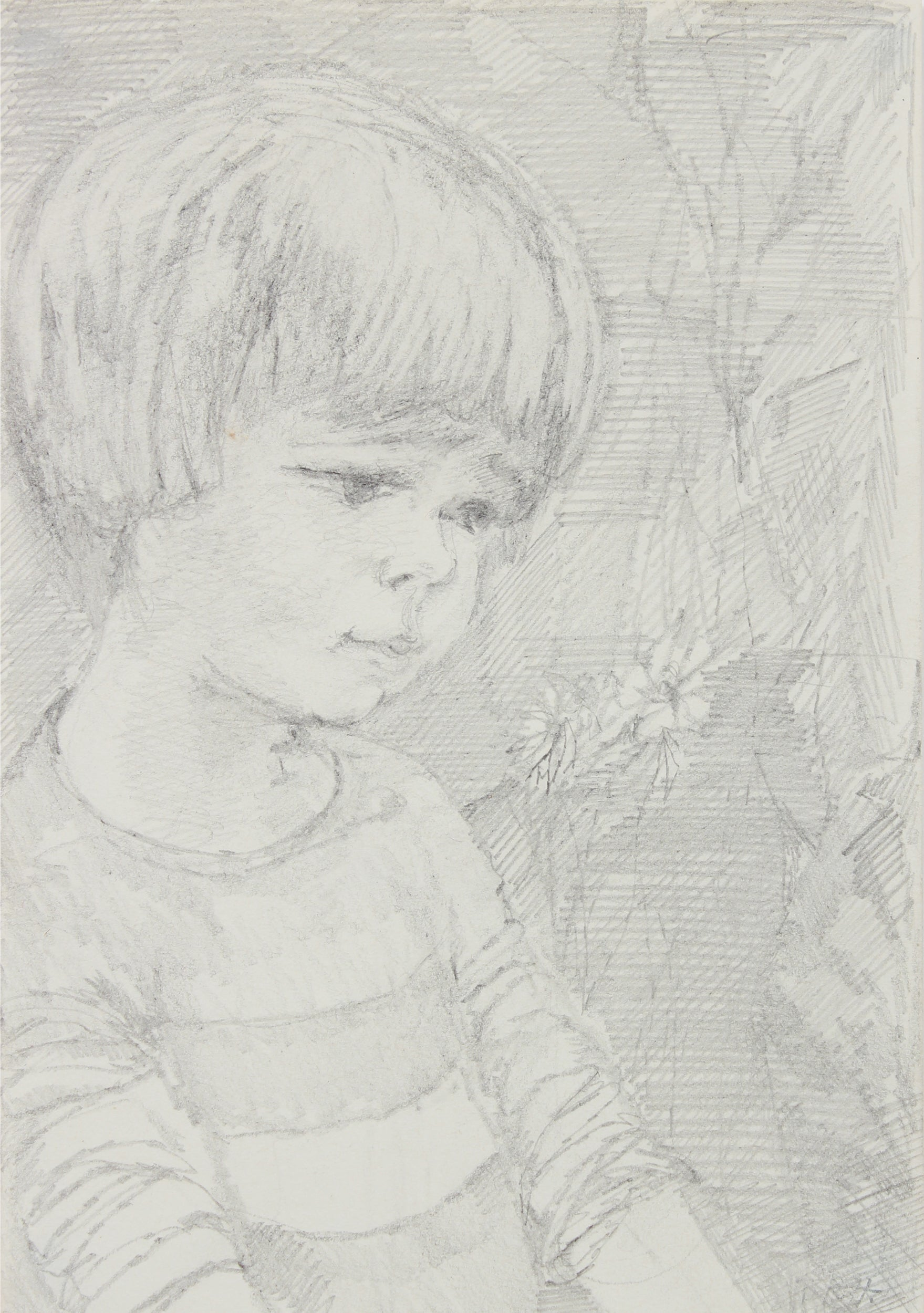 Monochrome Drawing of a Boy <br>1940-60s Graphite <br><br>#B0909