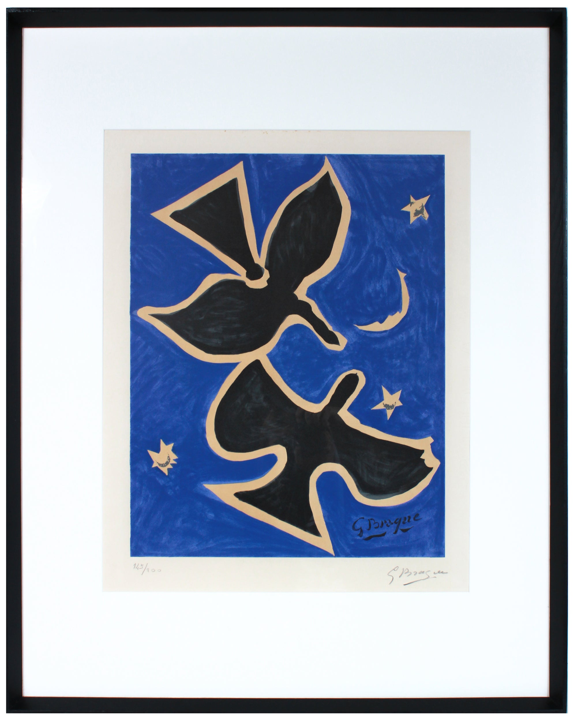 <i>Deux oiseaux sur fond bleu (Two Birds on a Blue Background)</i> <br>1961 Lithograph <br><br>#B1028