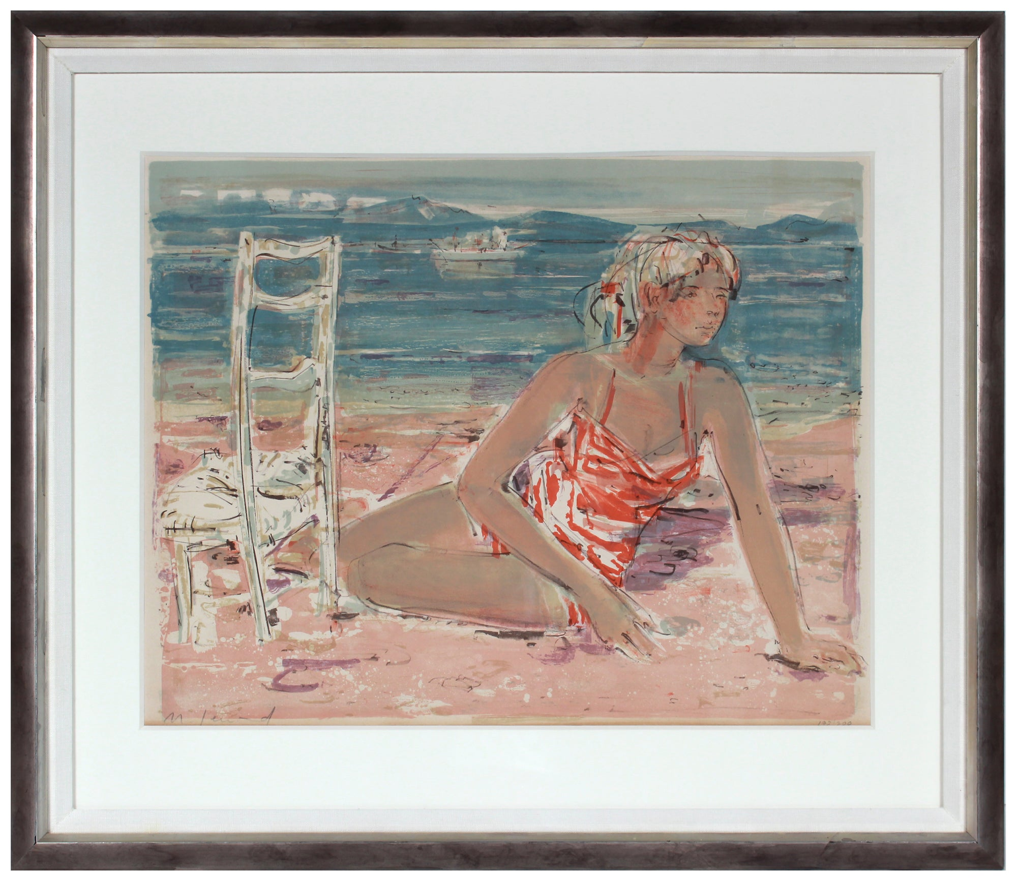 <i>Jeune fille sur la grêve (Young Girl on the Beach)</i> <br>1960 Lithograph <br><br>#B1104