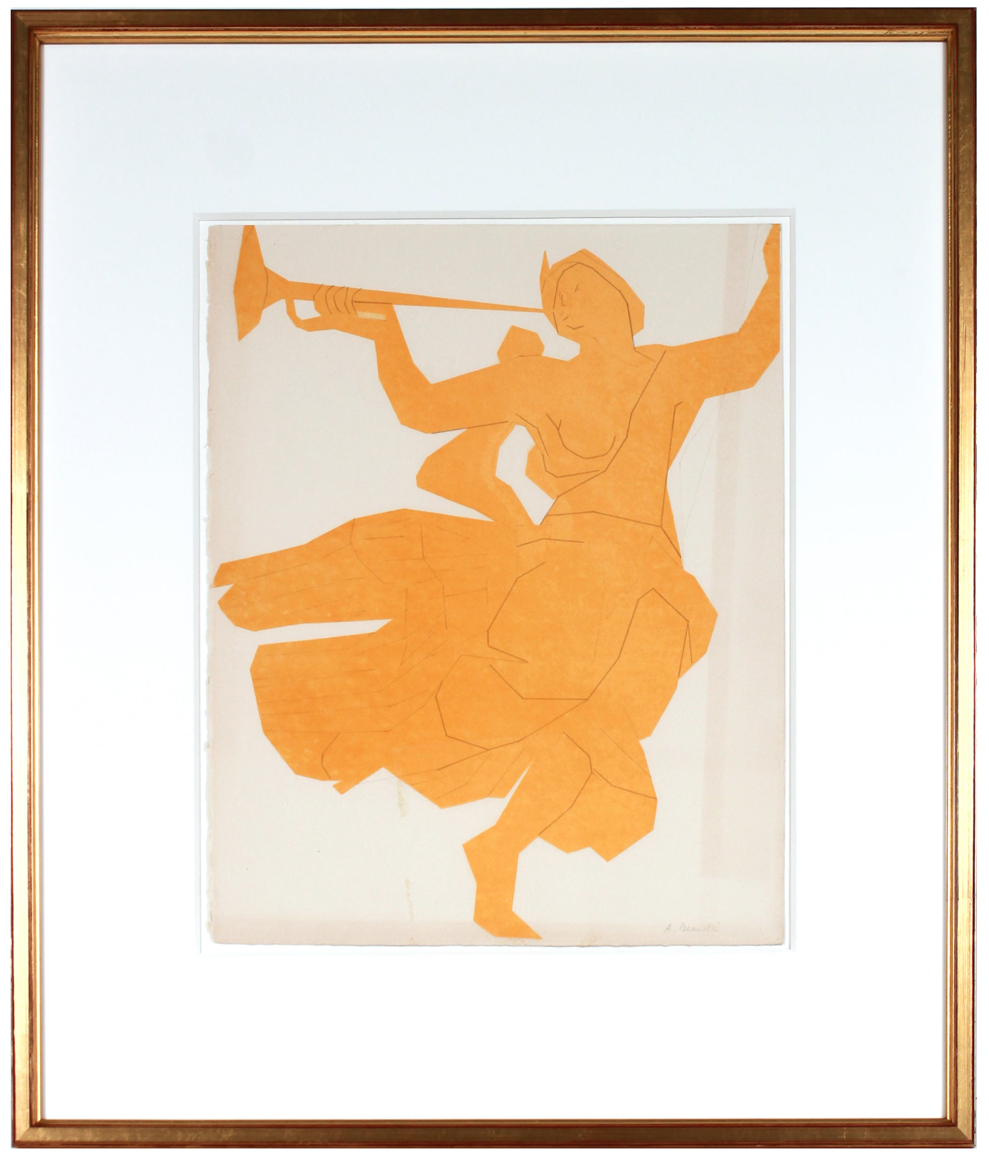 Dancing Woman with Trumpet <br>1967 Color Lithograph <br><br>#B1111