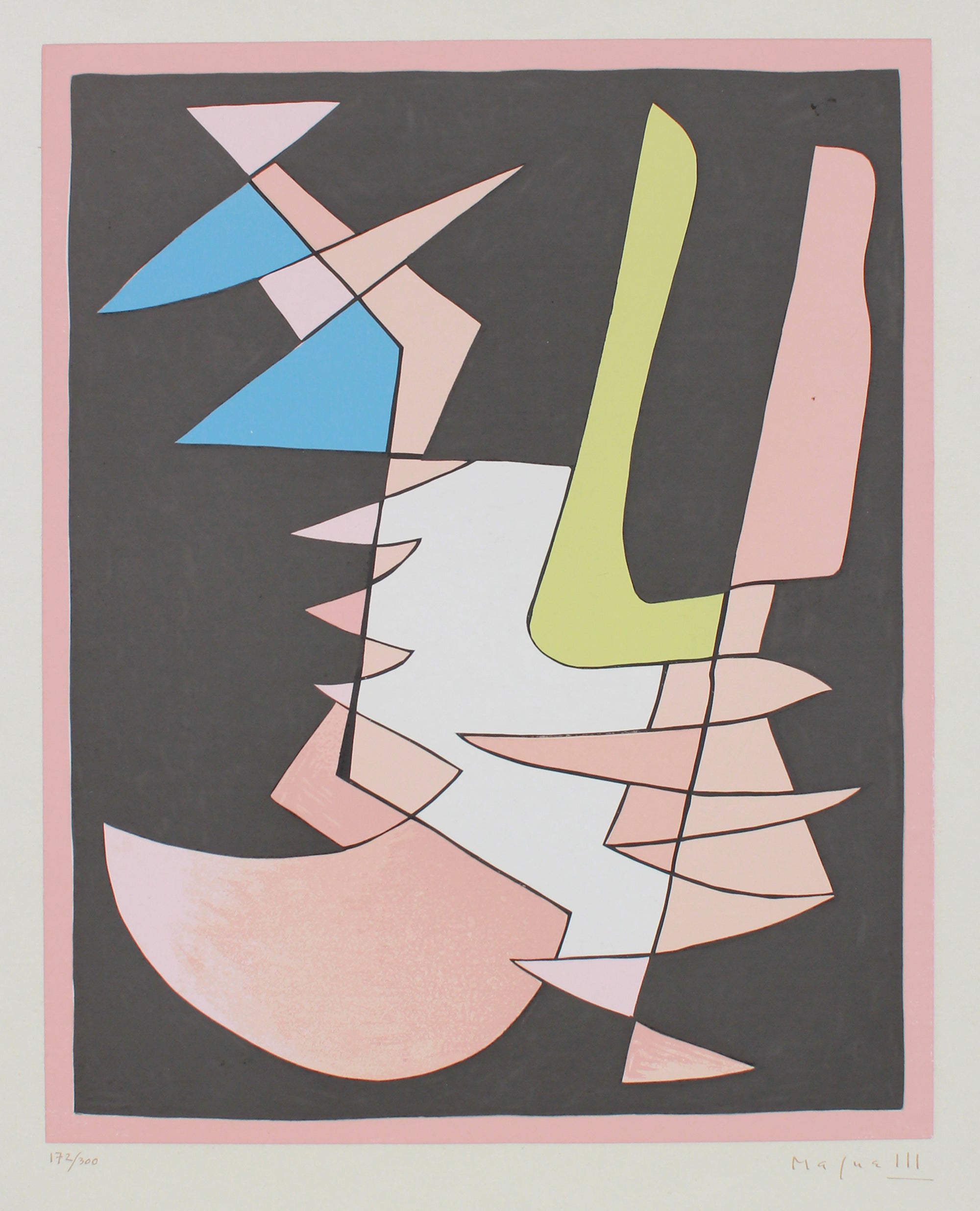 Modernist Geometric Abstract <br>1950 Serigraph <br><br>#B1297