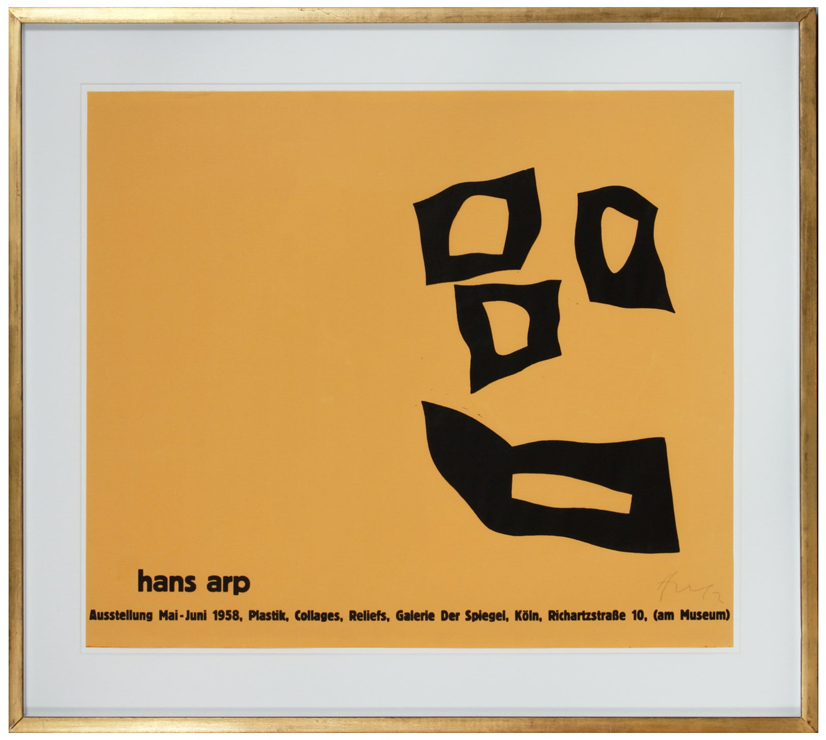 Black & Yellow Abstract Forms <br>1958 Serigraph <br><br>#B1592