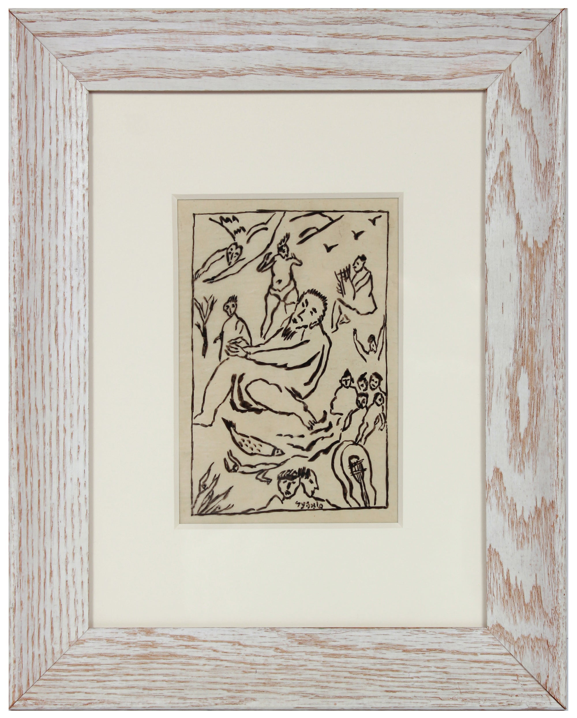 Expressionist Celestial Figurative Scene <br>Early 20th Century Ink <br><br>#B1960