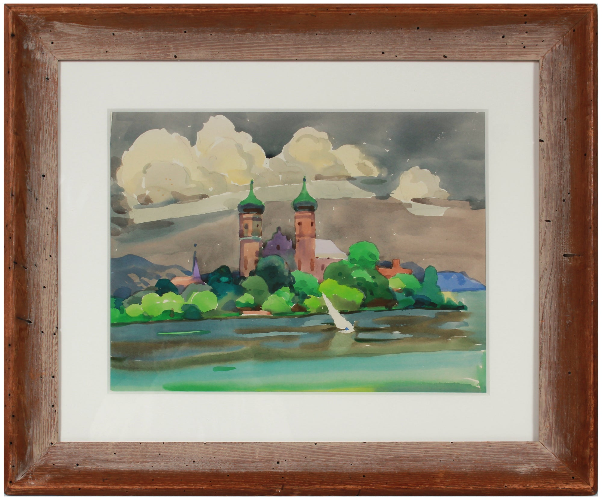 Two Towers by the Sea <br>1960s Watercolor <br><br>#B1964